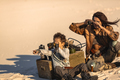 Post apocalyptic Woman and Boy Outdoors in a Wasteland - PhotoDune Item for Sale