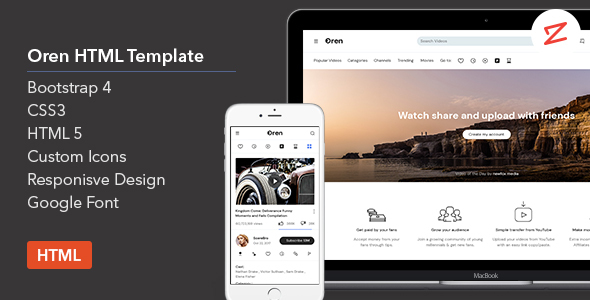 Oren - A Video Sharing HTML Template