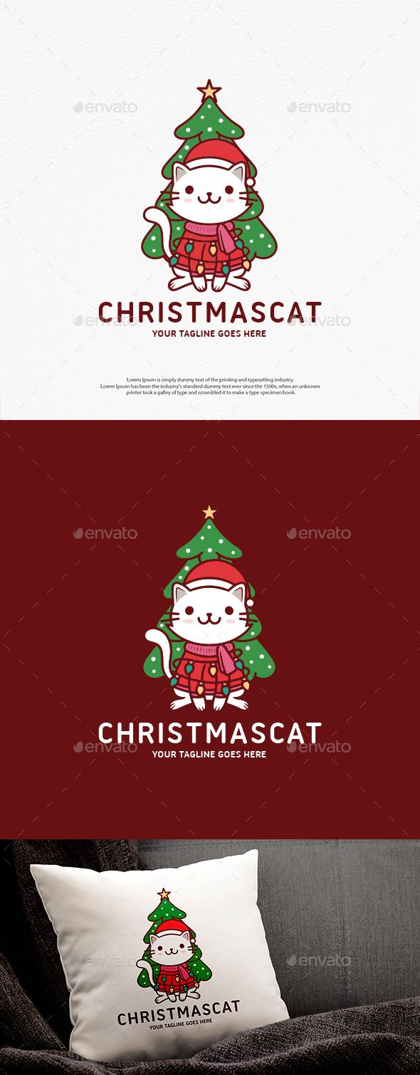 Cute Christmas Cat Logo