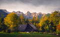 Landscape view of mountain peaks, colorful foliage and cottage, Slovenia - PhotoDune Item for Sale