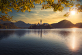 Scenic view of Lake Bled and island with church, colorful dramatic sky, Slovenia - PhotoDune Item for Sale