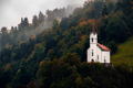 Scenic view of small church on a hill among trees, Slovenia - PhotoDune Item for Sale