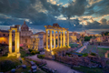 Forum Romanum archeological site in Rome with dramatic colorufl sky - PhotoDune Item for Sale