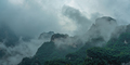Tianmen mountains covered in early morning fog - PhotoDune Item for Sale