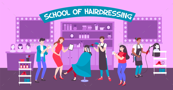 School of Hairdressing Vector Illustration