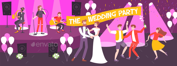 Wedding Party Vector Illustration