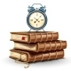 Classic Alarm Clock on Pile Stack of Paper Books - GraphicRiver Item for Sale
