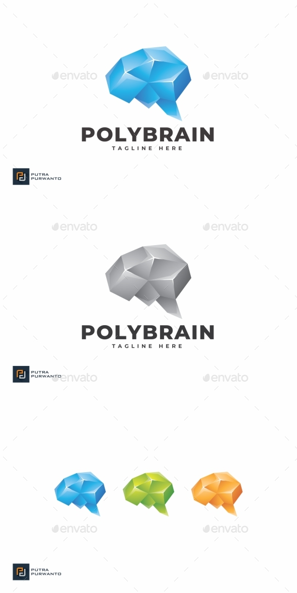 Polygon Brain - Logo Template