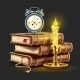 Classic Alarm Clock on Pile Stack of Books and Candle Banner - GraphicRiver Item for Sale