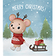 Little Bear Carries a Sleigh with Christmas Gifts - GraphicRiver Item for Sale