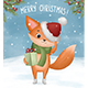 Little Fox with Christmas Present in its Paws - GraphicRiver Item for Sale