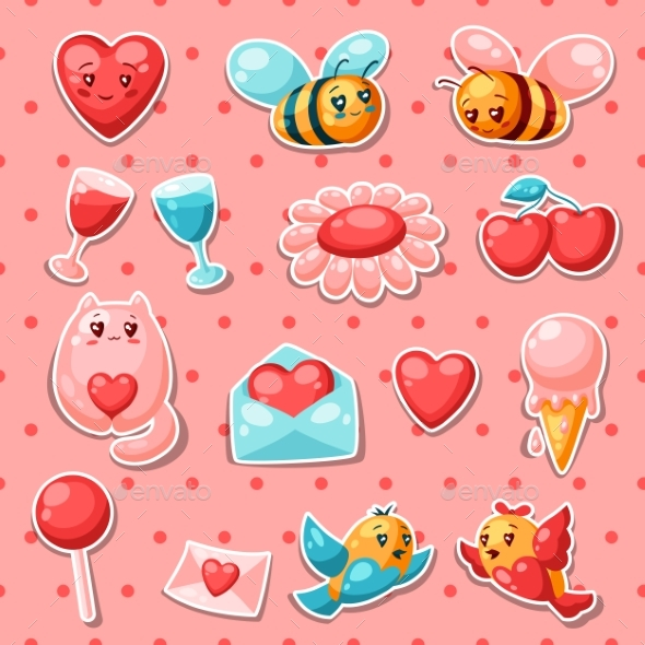 Happy Valentine Day Set of Stickers