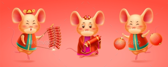 Rat Celebrating 2020 Chinese New Year or Mouse