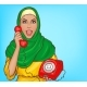 Arabic Woman in Hijab Talking on Vintage Phone - GraphicRiver Item for Sale