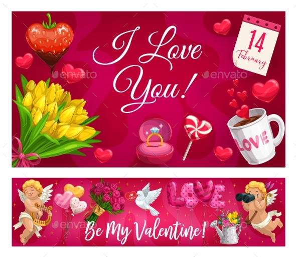 Valentine Day Lettering and Love Symbols