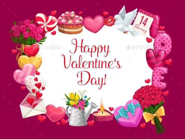 Valentines Day Love Holiday Gifts and Hearts