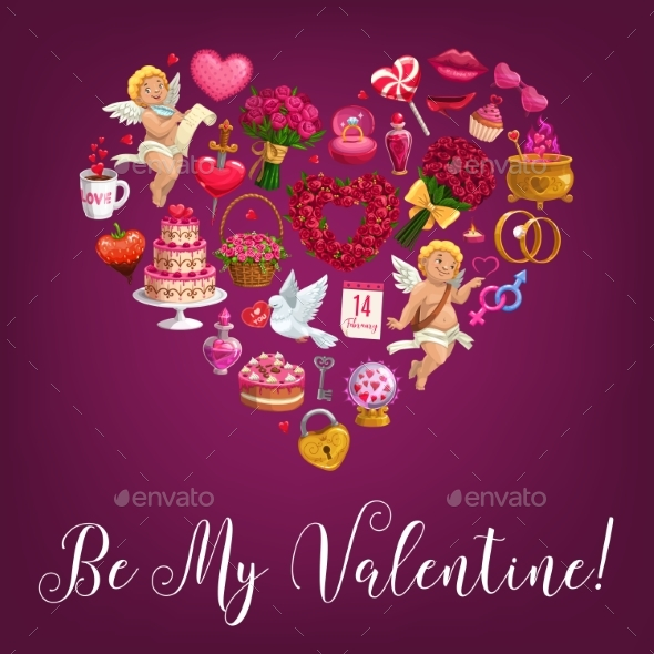 Be My Valentine Love Message Quote in Flower Heart