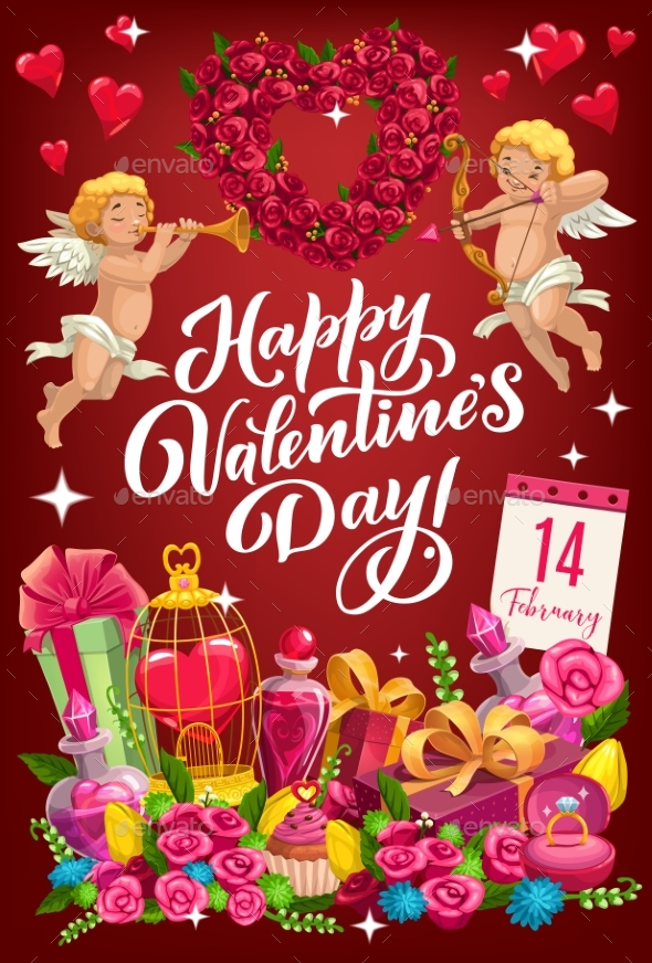 February 14 Valentines Day Symbols of Love Vector