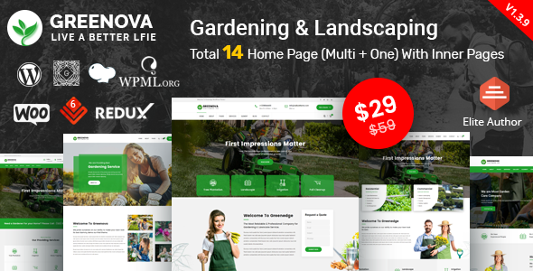 Greenova - Gardening & Landscaping WordPress Theme