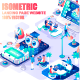 Isometric Landing Page Template Header - GraphicRiver Item for Sale