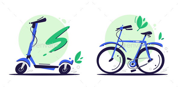 Eco Transport Flat Vector Color Illustrations