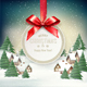 Christmas Holiday Background with a Winter Village and Gift Card with a Red Bow Vector illustration - GraphicRiver Item for Sale
