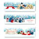 Three Holiday Christmas Banners with Presents and Magic Box Vector - GraphicRiver Item for Sale