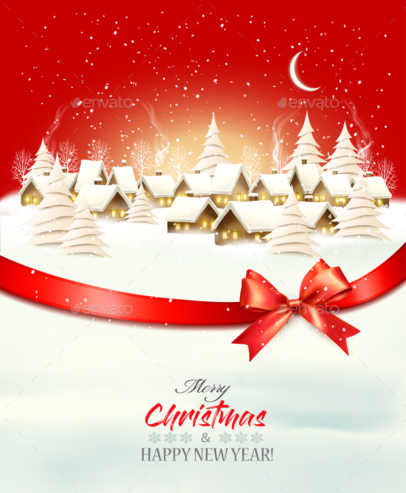 Holiday Christmas Winter Background with a Village Landscape Vector