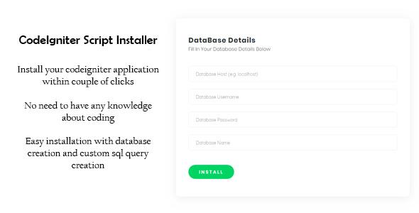 CodeIgniter Script Installer