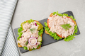 Flat lay view at Tuna sandwiches with lettuce tomatoes pickles and onions on slate tray - PhotoDune Item for Sale