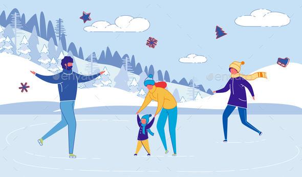 Family Cartoon Characters Skating on Skate Rink
