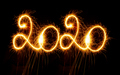 Happy New Year - 2019 with sparklers on black background - PhotoDune Item for Sale
