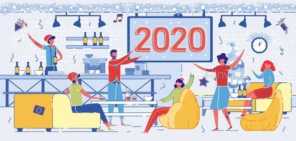 Cartoon People Celebrate New Year Night in Pub