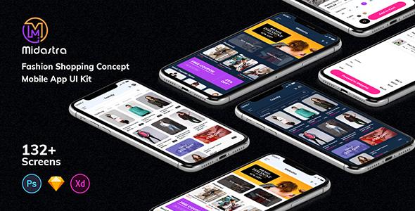 Midastra - Fashion Shopping Mobile App UI