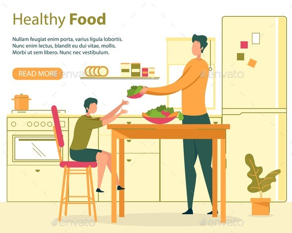Healthy Nutrition for Family Flat Vector Banner