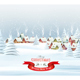 Holiday Christmas Background with a Presents and a Winter Village - GraphicRiver Item for Sale