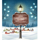 Christmas Evening Winter Landscape with Lampposts and a Winter Village - GraphicRiver Item for Sale
