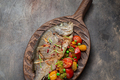 Close view of pan fried dorado fish with vegetables - PhotoDune Item for Sale