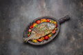 Fried fish with vegetables on cutting board, copy space - PhotoDune Item for Sale