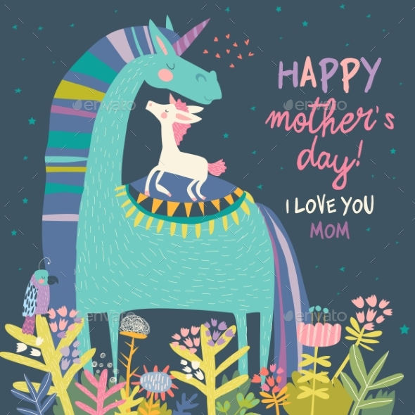 Unicorn with Mom Mothers Day