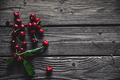 Wooden background with several delicious cherries on green leaves - PhotoDune Item for Sale