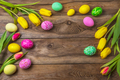 Easter rustic background with floral decorated eggs - PhotoDune Item for Sale