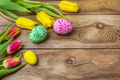 Easter rustic greeting with pink green floral painted eggs - PhotoDune Item for Sale