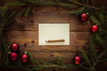 Fir Tree Branch, Red Balls and Paper on Wooden Table. Letter to Santa. Space for Text - PhotoDune Item for Sale