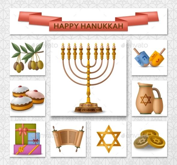 Hanukkah Golden Template with Torah Menorah and Dreidels