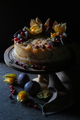 Cheesecake with figs and physalis on a holder - PhotoDune Item for Sale
