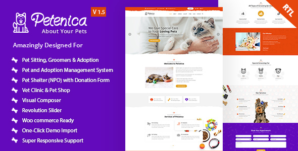 Petenica: Pet Sitter and Adoption WordPress Theme