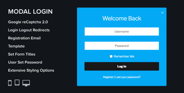Modal Login Register Forgotten WordPress Plugin pro