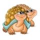 Illustration of a a Boy and a Girl Turtles - GraphicRiver Item for Sale