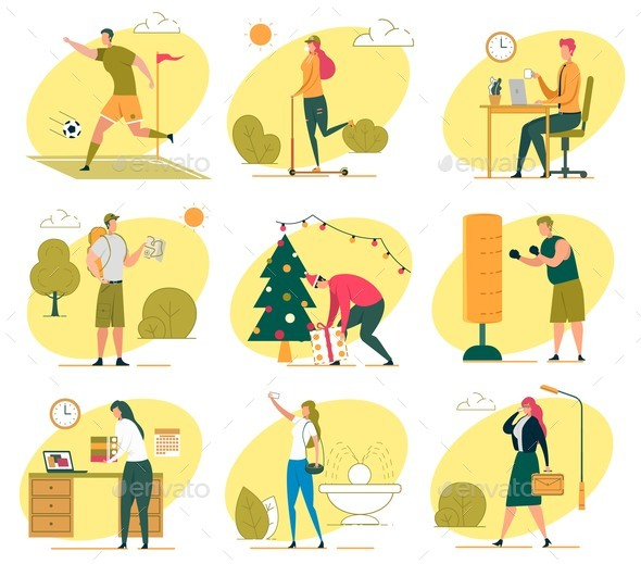 Different People Life Elements Flat Illustration